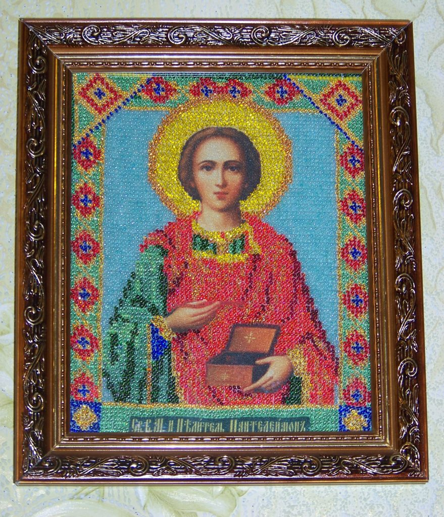 Икона бисером святого Пантелеймона Целителя